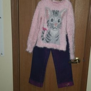 Adorable fuzzy and soft cat sweater and jeans